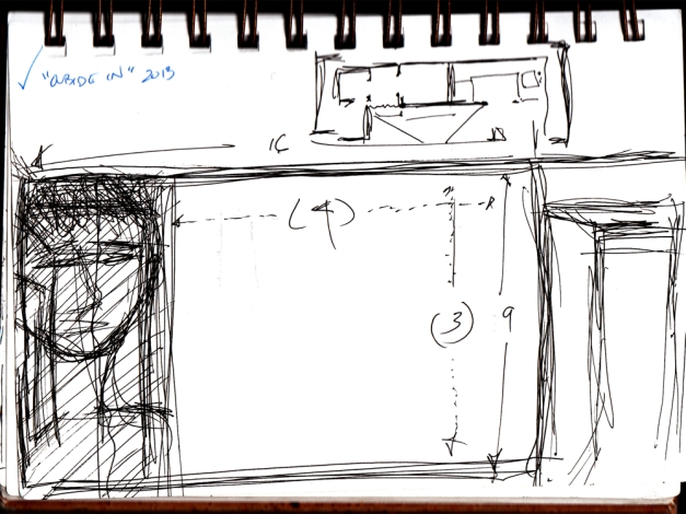 "This sketch showed an option I considered whereby the full 16x9 projection for the external (or ""fantasy"") portion of the project extended from one wall to the edge of a door. The part of the projection which was my head would actually be projected onto cloth hanging from the ceiling, slit down the center allowing people to walk ""into"" my head to go to the other room and see the other part. This represents the true ideal of Outside/In but would have required a ceiling mount for this projection channel which was not possible."